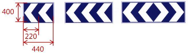 线形诱导标设置图例: (单位:mm)
